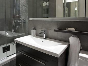 Modern Kohler bathroom sink and shower