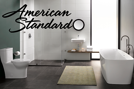 modern american standard toilet, bathroom sink, tub, and shower