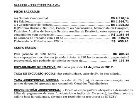 Boletim Informativo sobre o reajuste salarial 2017