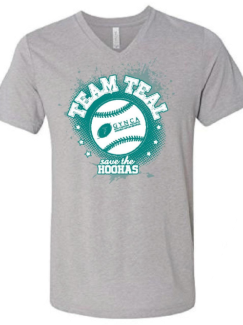 V-Neck Team Teal Baseball Shirt - XXXL