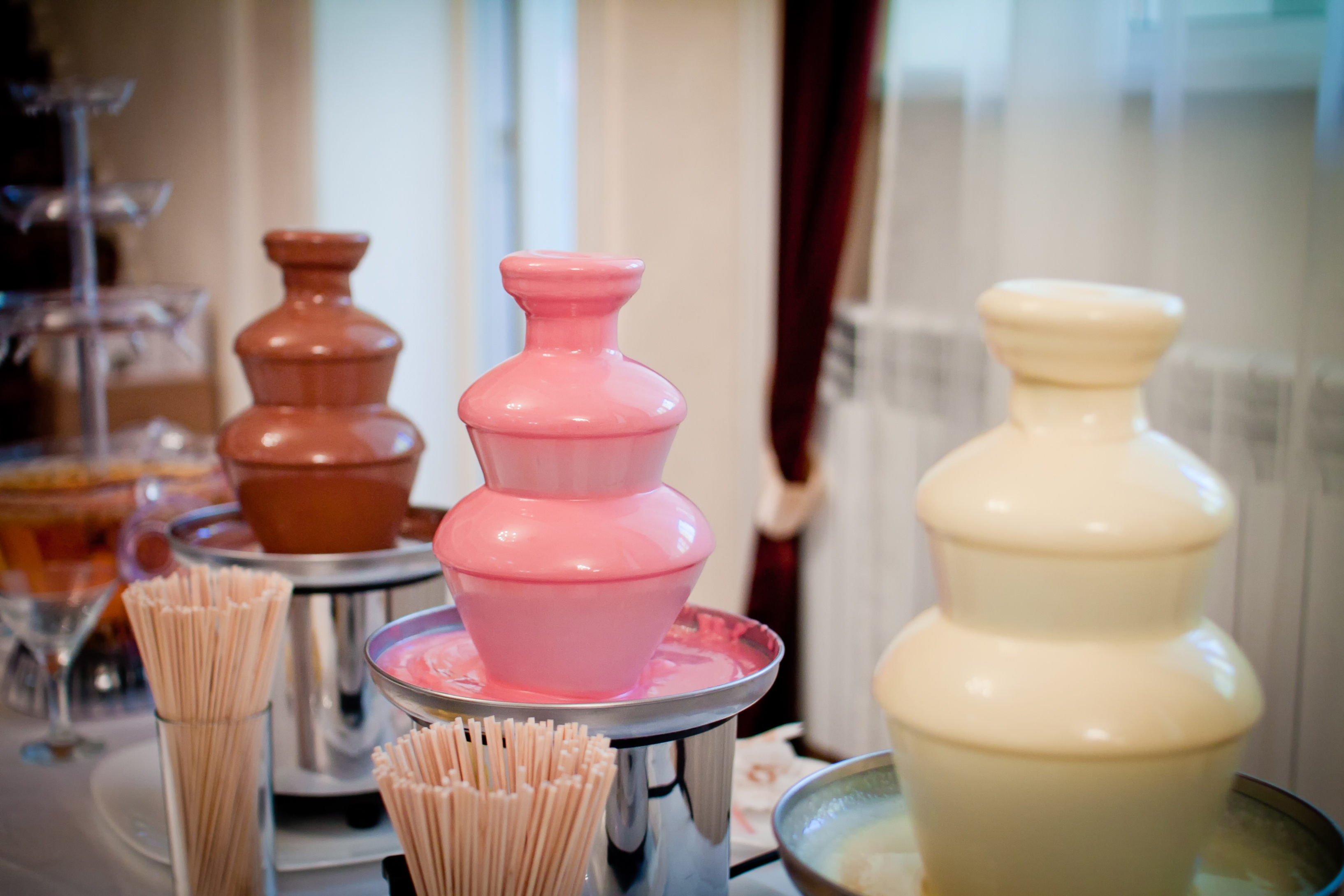 pink chocolate fountain