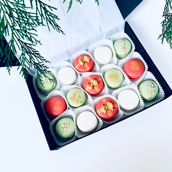 Christmas Macarons 12 Pack.