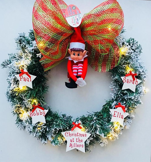 Removable Elf Personalised Wreath