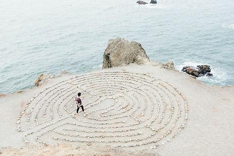 Woman walking meditaion maze
