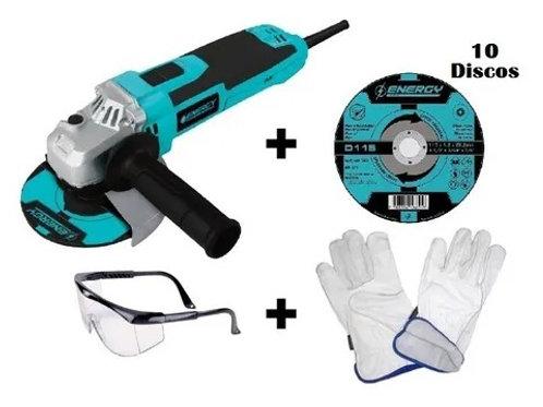 Esmeril angular +10 Discos de corte +1 par de guantes de cabritilla +1 lente de