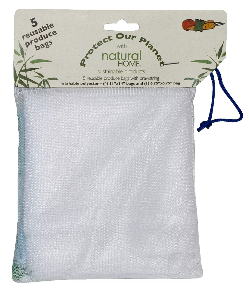 You love fruits and veggies, but you don't like wasting plastic bags every time you buy them. That's why this set of Reusable Produce Bags from Natural Home offers you a more eco-friendly way to tote nature's goodies home. The set includes four 11-inch by 14-inch bags perfect for larger items like heads of lettuce, cantaloupes, honeydews or carrots, and one 6.75-inch bag ideal for smaller items.