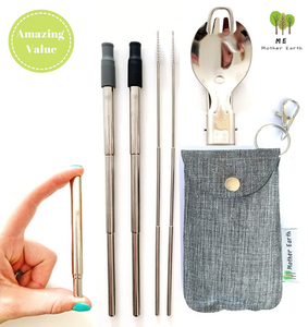 me mother earth eco-friendly and sustainable compact straw and spork kit for travel
