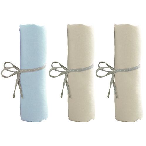 Lot de 3 draps housse 70x140 cm - 2 écrus + 1 bleu ciel