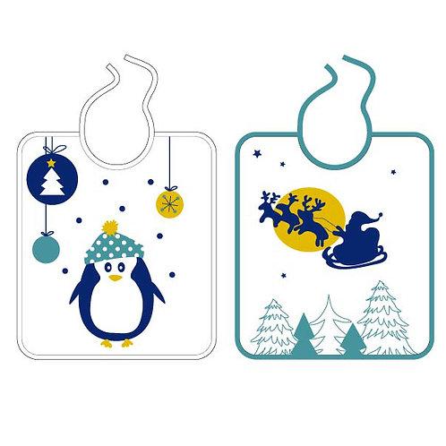 Lot de 2 bavoirs Noël Pingouin - 6 mois