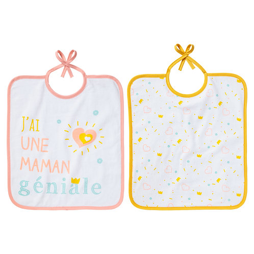 Lot de 2 bavoirs Maman géniale - 6 mois