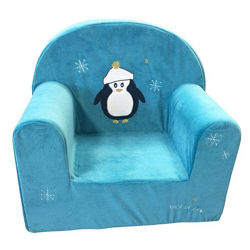 Fauteuil droit enfant Noël - Pingouin bleu