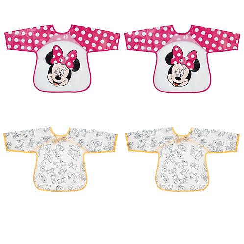 Lot de 4 bavoirs tabliers plastifiés Disney Winnie & Minnie - 12+