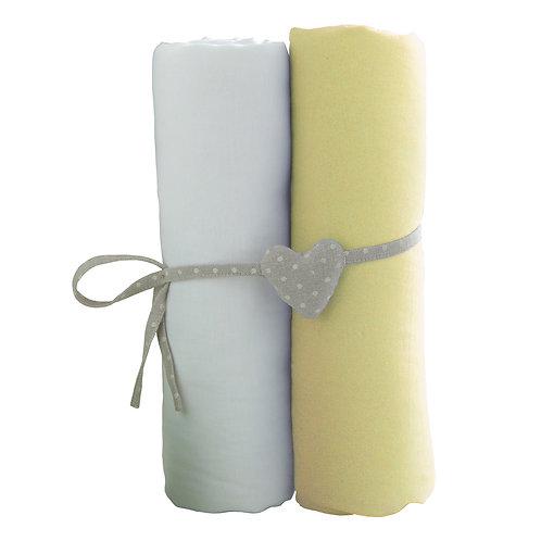Lot de 2 draps housses en coton 70x140 cm - Blanc + Jaune