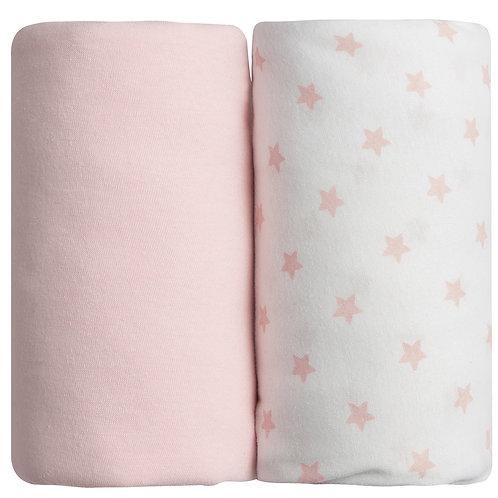 Lot de 2 draps housses en coton 60x120 cm - Rose + Imprimé étoiles