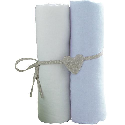 Lot de 2 draps housses 60x120 cm - Blanc + Bleu ciel