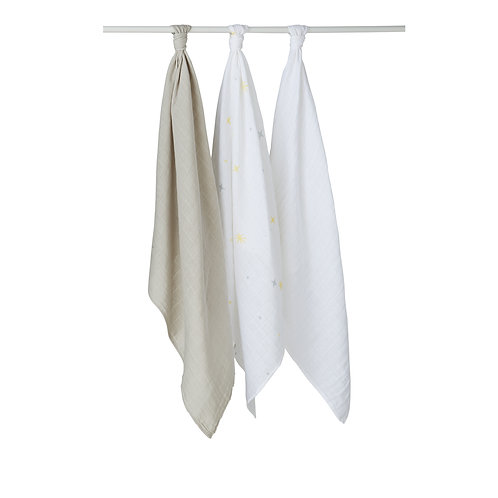 Lot de 3 langes en coton 70x70 cm - Etoiles, gris, blanc