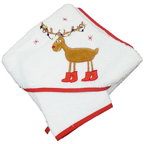 Cape de bain + gant de toilette Noël - Renne