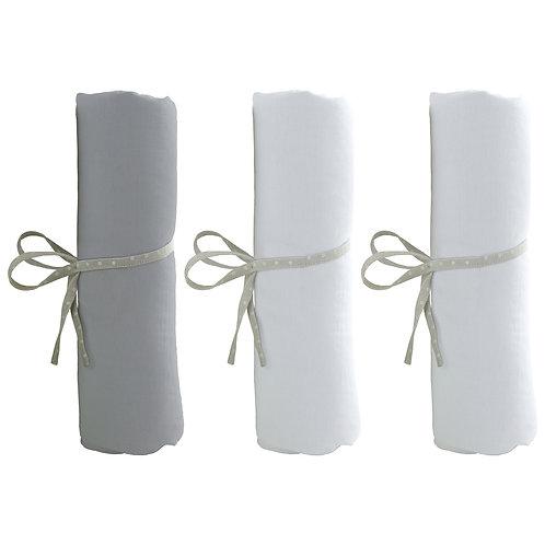 Lot de 3 draps housse 60x120 cm - 2 blancs + 1 gris