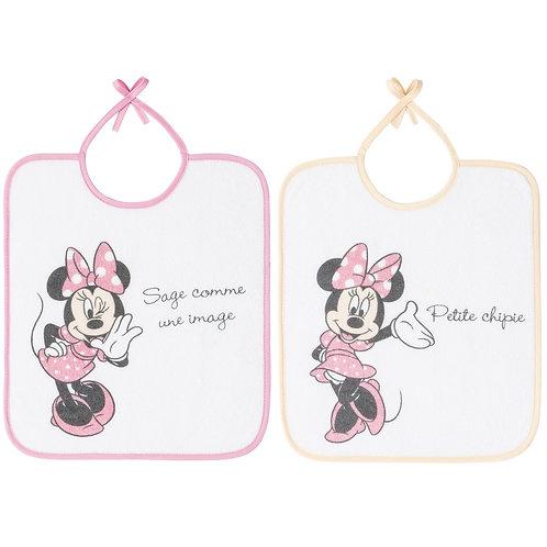 Lot de 2 bavoirs essentiels Disney Minnie - 6 mois