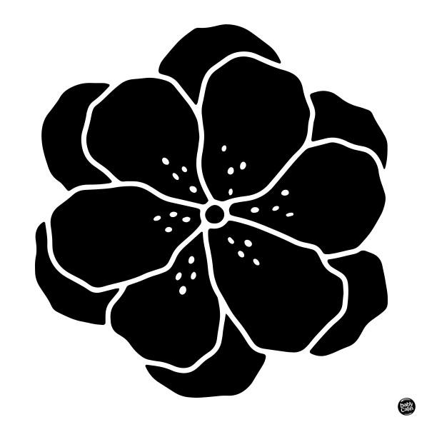 Carte contrastée fleur noir et blanc