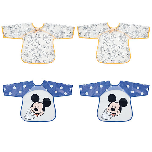 Lot de 4 bavoirs tabliers plastifiés Disney Winnie & Mickey - 12 mois