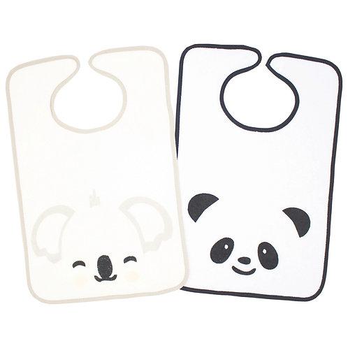 Lot de 2 bavoirs Panda, Koala - 12+