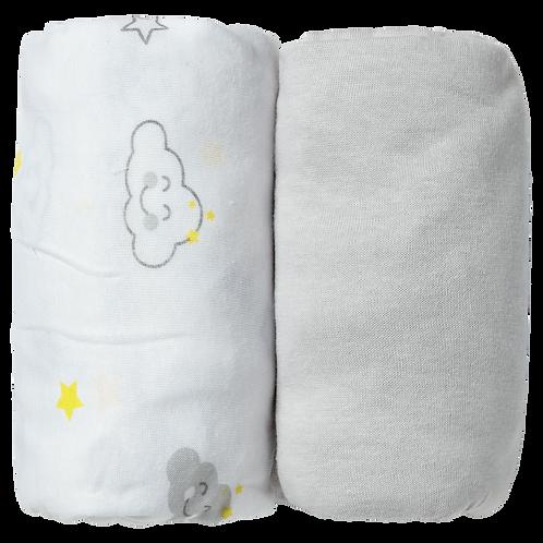 Lot de 2 draps housses 60x120 cm - Nuage/Gris