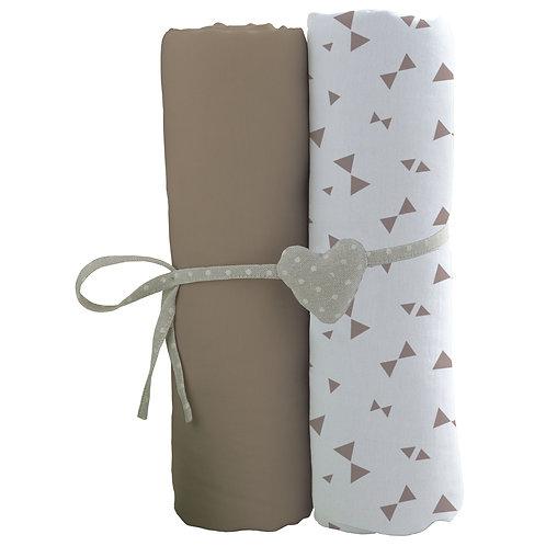 Lot de 2 draps housses en coton 60x120 cm - Taupe, Imprimé nœuds