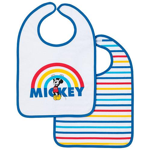Lot de 2 bavoirs 1er âge Disney Mickey Rainbow - 6+