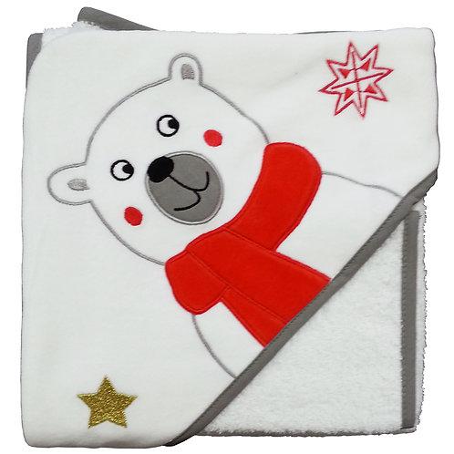 Cape de bain + gant de toilette Noël - Ours