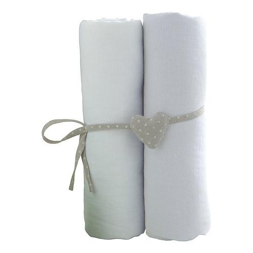 Lot de 2 draps housses en coton 70x140 cm - Blanc