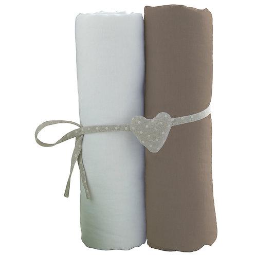 Lot de 2 draps housses en coton 60x120 cm- Blanc + Taupe