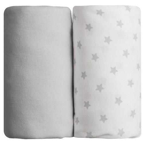 Lot de 2 draps housses en coton 70x140 cm - Gris + Imprimé étoiles