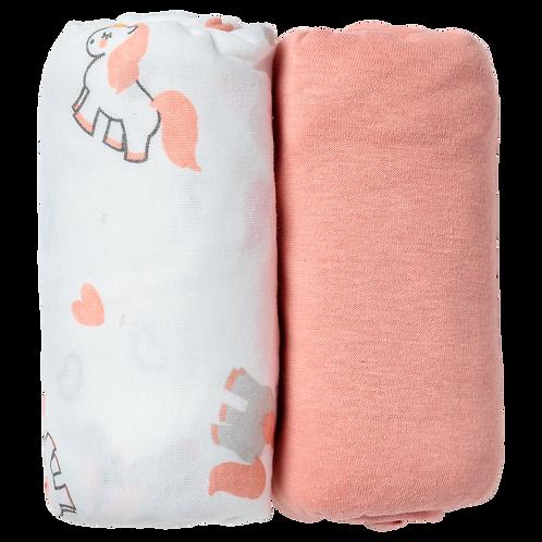 Lot de 2 draps housses 70x140 cm - Licorne/Rose