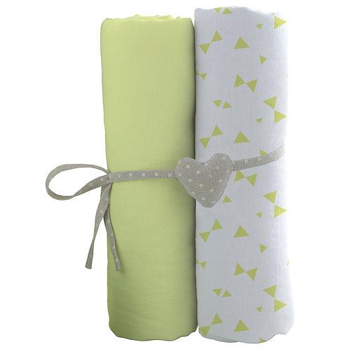 Lot de 2 draps housses en coton 70x140 cm - Vert, Imprimé nœuds