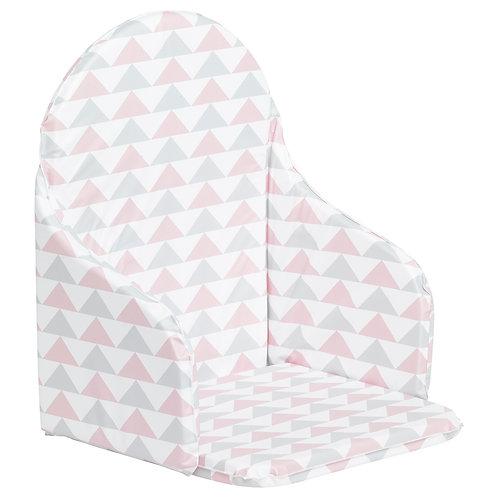 Coussin de chaise haute - Géométrique rose et gris