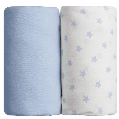 Lot de 2 draps housses en coton 70x140 cm - Bleu ciel + Imprimé étoiles