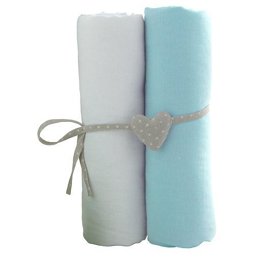 Lot de 2 draps housses en coton épais 60x120 cm - Blanc, turquoise