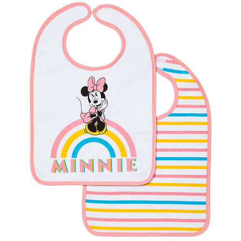 Lot de 2 bavoirs 1er âge Disney Minnie Rainbow - 6+