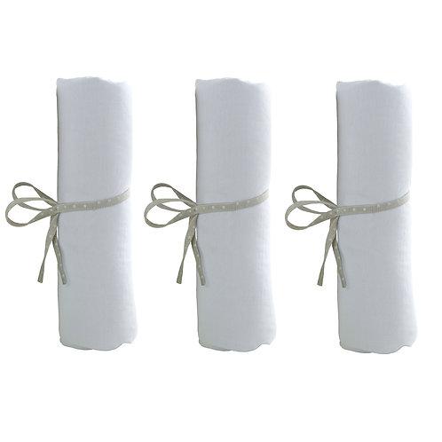 Lot de 3 drap-housse uni 70x140 cm - Blanc