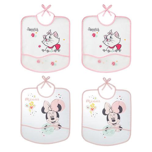 Lot de 4 bavoirs imperméables Disney Marie & Minnie avec poche - 6 mois