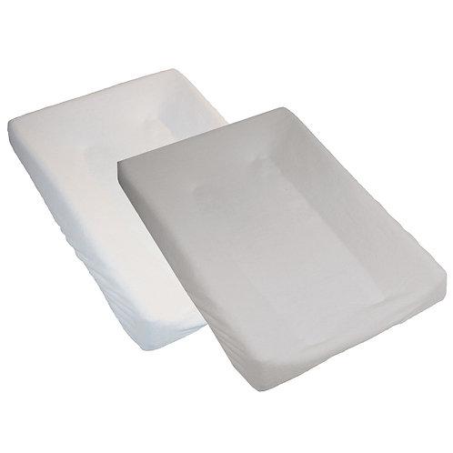 Lot de 2 housses de matelas à langer en éponge 50x70 cm - Blanc, Gris