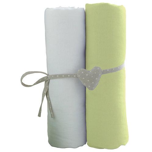 Lot de 2 draps housses en coton 60x120 cm - Blanc + Vert