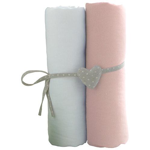 Lot de 2 draps housses en coton 70x140 cm - Blanc + rose