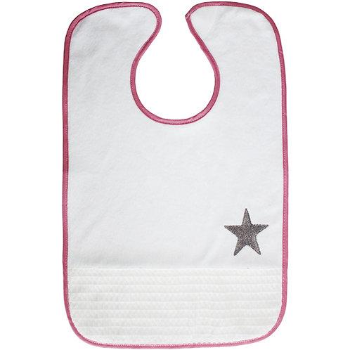 Bavoir rigolo étoile rose - 18 mois