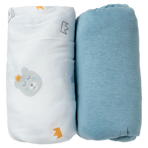 Lot de 2 draps housses 70x140 cm - Ours/Bleu