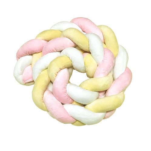 Coussin tresse 300 cm - Rose, Jaune, Blanc