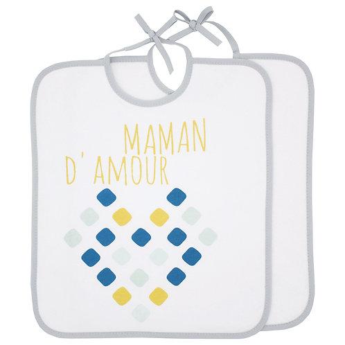 Lot de 2 bavoirs Maman d'Amour + Uni - 6 mois
