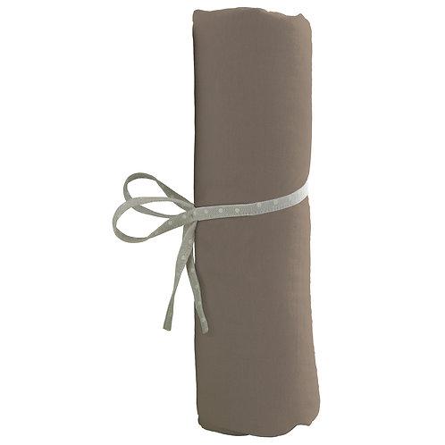Drap housse uni 60x120 cm en coton épais - Taupe