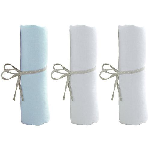 Lot de 3 draps housse 70x140 cm - 2 blancs + 1 bleu ciel